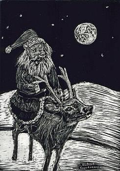 Santa on Reindeer by Robert Goudreau