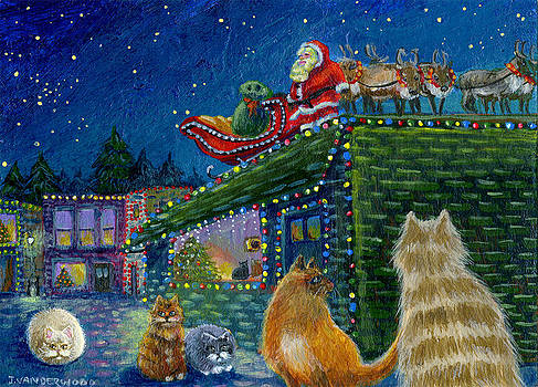 Santa on the Roof by Jacquelin Vanderwood