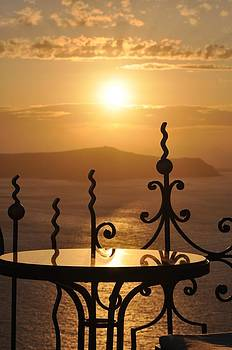 Santorini Sunset by Kathy Schumann
