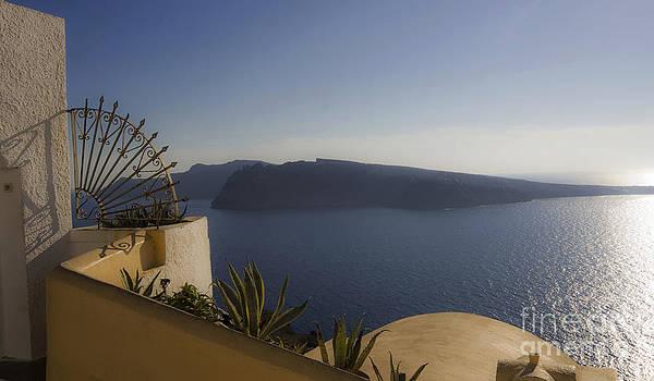 Santorini View 24x14 by Leslie Leda