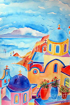 Santorini Water Color by Roberto Gagliardi