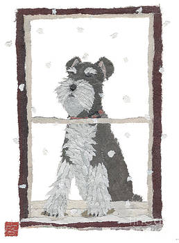 Schnauzer Art Hand-Torn Newspaper Collage Art by Keiko Suzuki Bless Hue