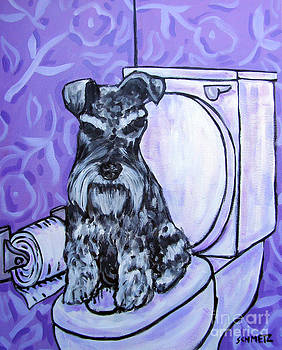 Schnauzer in the Bathroom by Jay  Schmetz