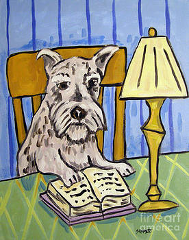 Schnauzer Reading a Book by Jay  Schmetz