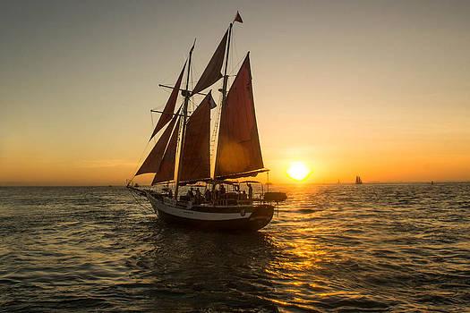 Schooner Setting Sail at Sunset by DM Photography- Dan Mongosa