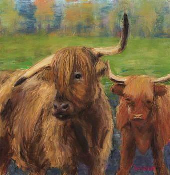 Scottish Highland Cows in the Mist by Linda Dessaint