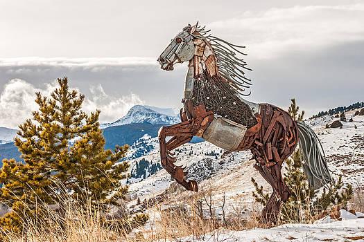 Scrap Metal Rearing Horse by Sue Smith