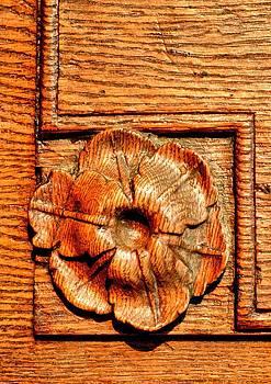 Ion vincent DAnu - Sculpted Ornament in an Oakwood Door