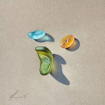 Sea glass - trio by Elena Kolotusha