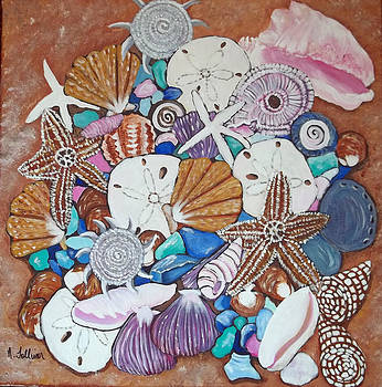 Sea Shell Still Life with Sea Glass by Norma Tolliver