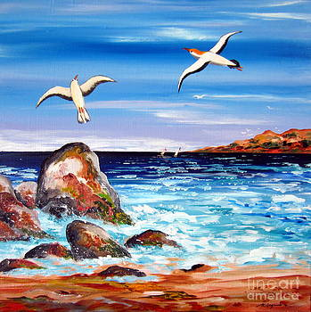 Seagulls by the Rocks downsouth Western Australia by Roberto Gagliardi