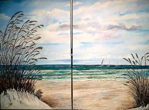 Seaoats on the beach by Arlen Avernian Thorensen