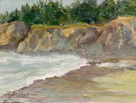 Seascape Overcast Beach Colorful Landscape Original Painting  by K Joann Russell