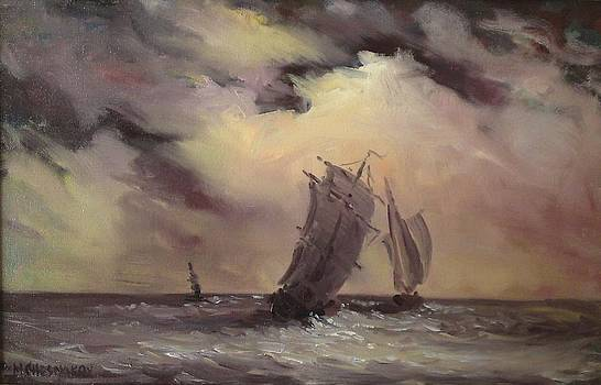Seascape with ships by Michael Chesnakov