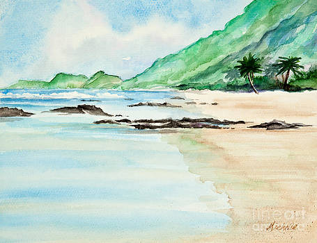 Secluded Tropical Beach Watercolor by Michelle Wiarda