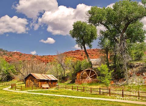 Gregory Dyer - Sedona Arizona Barn and Waterwheel