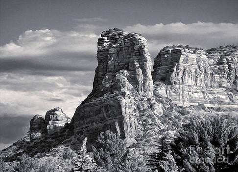 Gregory Dyer - Sedona Arizona Mountain Peak - Black and White