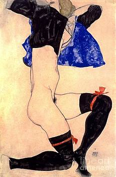 REPRODUCTION - Semi-nude with black stockings and red garter