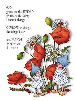 Joyce Geleynse - Serenity Prayer with Flowers and Gnomes