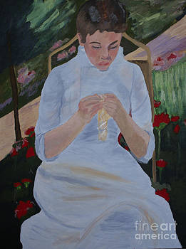 Kate Farrant - Sewing in the garden