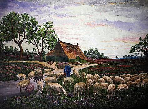 Sheep at daybreak by Andries Hartholt