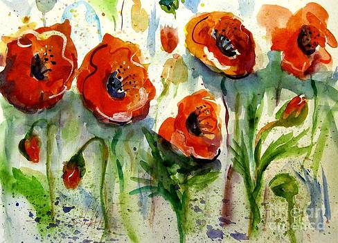 Shimmering Red Poppies by Delilah  Smith