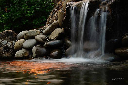 Mick Anderson - Shimmering Waterfall Under Fiery Skies