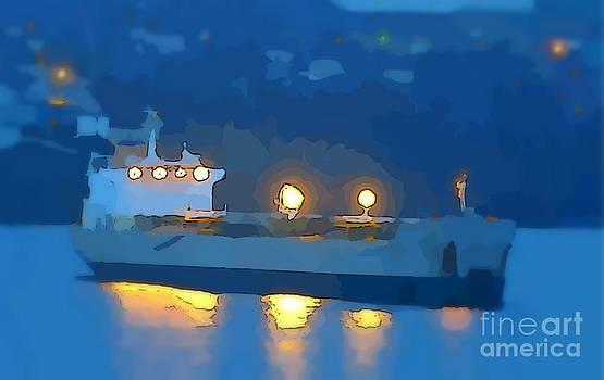 John Malone - Ship at Night Abstract Painting