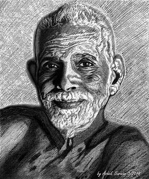 Shri Ramana with ballpoint pen by Ashok Naraian