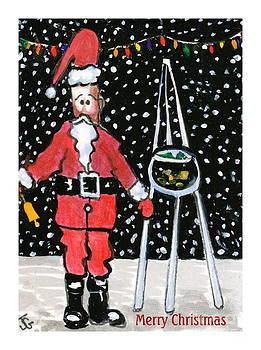 Sidewalk Santa.Card by Joyce Gebauer