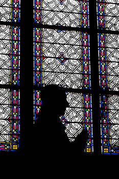 Silhouette of a Statue in front of a Colorful Window in a Chatedr by Francesco Rizzato