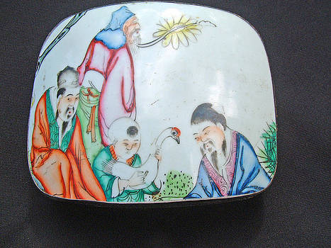 Silver or silver plated box decorated on the lid with antique porcelain fragment by Anonymous Chinese silversmith