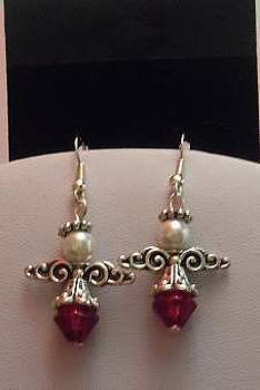 Silver Ruby Pearl Filigree Angel Earings by Kimberly Johnson