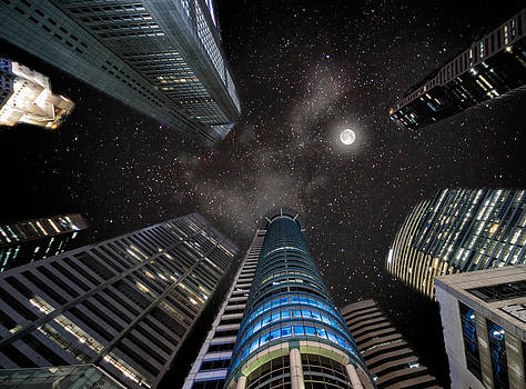 Singapore Moon Sky by John Swartz