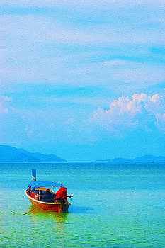Single Boat In A Beautiful Peaceful Sea And Bright Blue Sky by Jirawat Cheepsumol