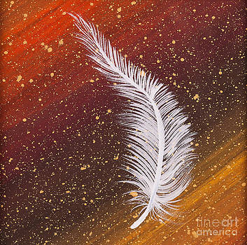 Single white feather painting by Carolyn Bennett by Simon Bratt Photography LRPS