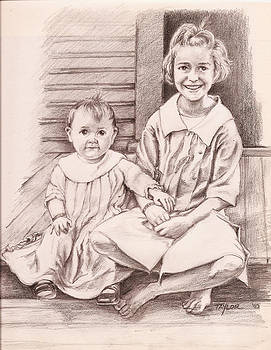 Sisters on the Back Step by Sandy Taylor