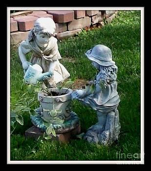 Gail Matthews - Sisters watering plants in the garden