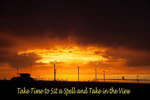 Sit a Spell Sunset by Shirley Heier