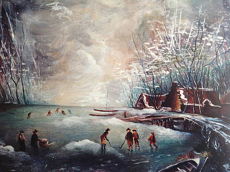 Skaters on ice by Egidio Graziani