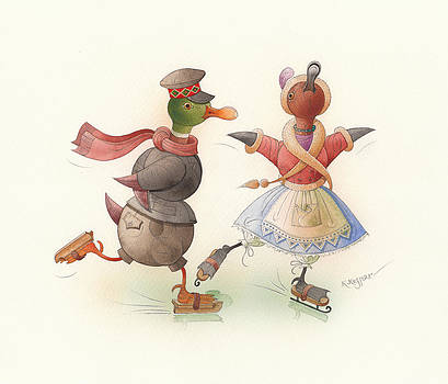Skating Ducks 7 by Kestutis Kasparavicius