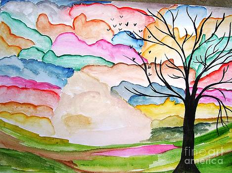 Sky Painting Water Color On Paper by Purnima Jain
