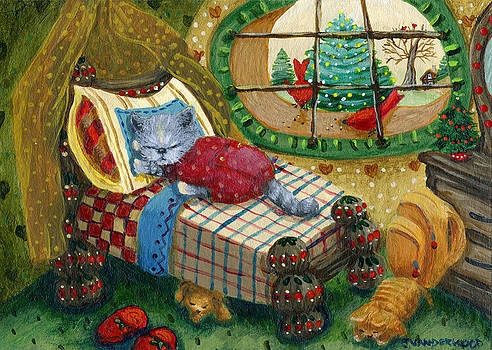 Sleepy Christmas Kitty by Jacquelin Vanderwood