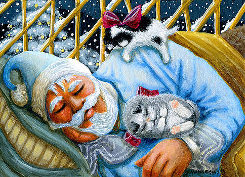 Sleepy Time Santa and Kitties by Jacquelin Vanderwood