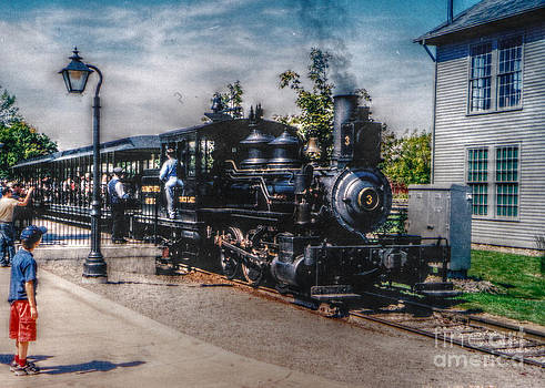 Small Boy Waiting for Steam Engine by Janice Sakry