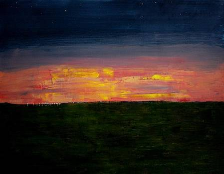 Small Town Prairie Dusk by Ralph LeCompte