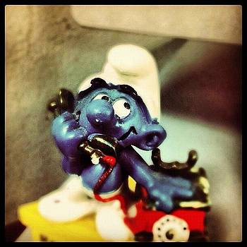 #smurfin #smurf #blue #phone #toy #nyc by Shawn Who