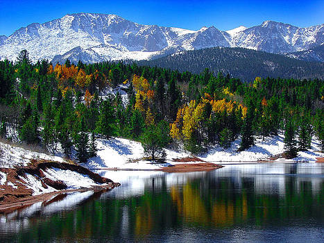 Snow capped Pikes Peak at Crystal  by John Hoffman