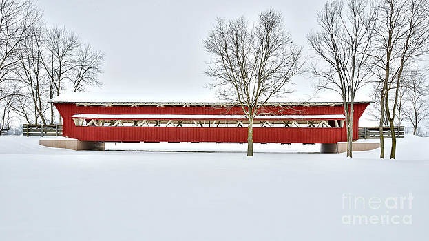 Snow Covered Covered Bridge by Brian Mollenkopf