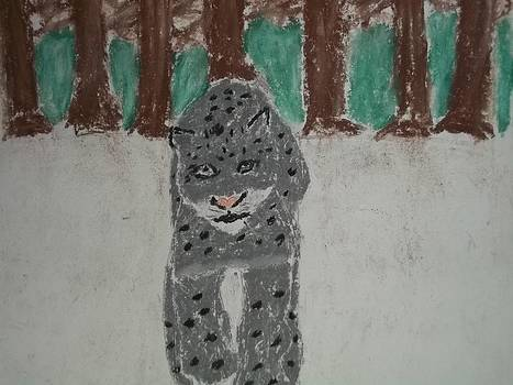 Snow Leopard Pastel On Paper by William Sahir House